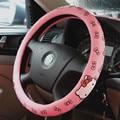 Hola accesorios del coche del gatito para las muchachas lindas fundas de volante de dibujos animados impreso Látex cubierta del volante 38 CM Rosa
