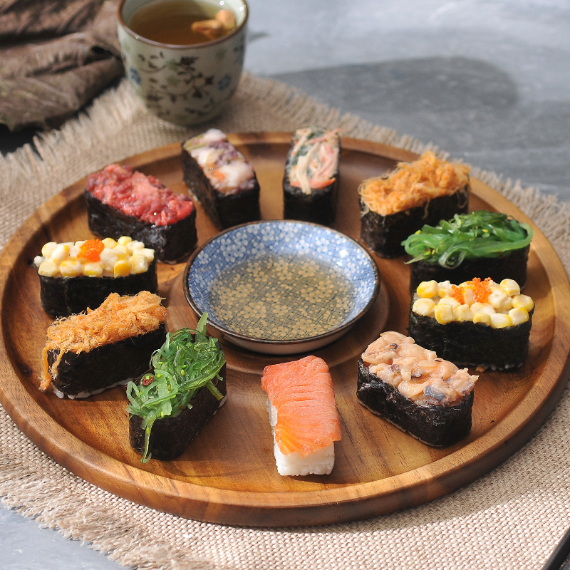 Natural Acacia Wood Serving Tray Wooden Sashimi Sushi Cake Plate Platter with Porcelain Bowl Tableware Dinner