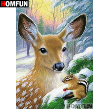 HOMFUN Full Square/Round Drill 5D DIY Diamond Painting Animal deer Embroidery Cross Stitch Home Decor Gift A07028