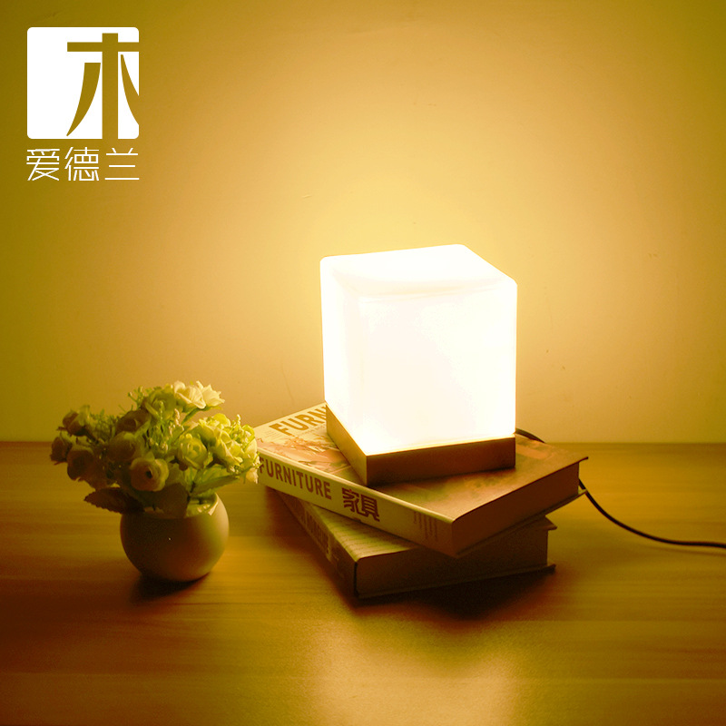 Small lamp, simple glass, solid wood, warm light, night light, desk bedroom, decorative bedside lamp.Small lamp, simple glass, solid wood, warm light, night light, desk bedroom, decorative bedside lamp.