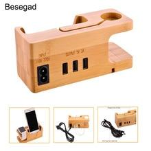Док станция Besegad с 3 портами по дереву и USB, зарядная док станция, держатель для Apple Watch iWatch серии 1 2 3 4 iPhone X 8 7 6 6S Plus