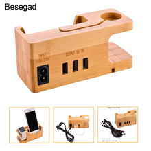 Besegad 3port Wood USB Charging Station Charger Dock Stand Holder for Apple Watch iWatch Series 1 2 3 4 iPhone X 8 7 6 6S Plus