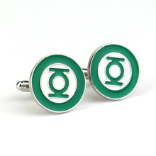 1.8 cm Metal Cufflinks Green Lantern Time Gem DC Comic France Cuff Links for Men Shirts Accessory Movie Jewelry Cuff Button fashion silver plated 26 english letters metal cufflinks h cuff links