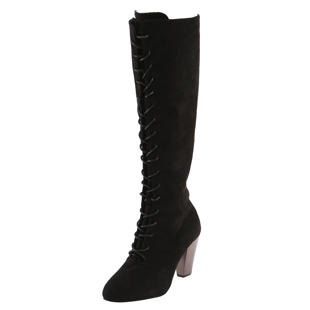 Sexy Lace Up Over Knee Boots Women Boots Flats Shoes Woman Square Heel Flock Boots Botas Winter Thigh High Boots 35-43 aiweiyi winter boots shoes woman high quality sexy women thigh high boots lace up knee boot high heel retro knight boots
