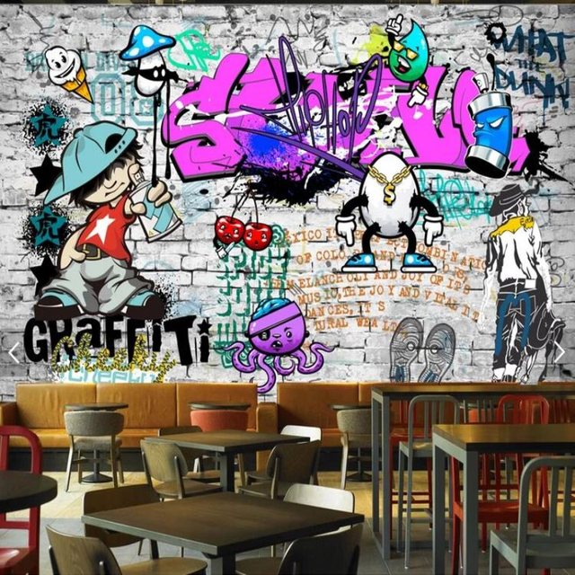 Large custom fashion mural trend street art graffiti decorative wallpaper hip hop brick wall tea restaurant