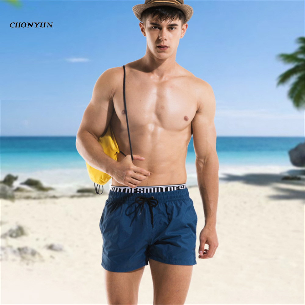 2018 New Quick Dry Mens Gyms Summer   Board     Shorts   Surfings Swimwear Beach   Short   Male Breathable Flat Gyms Man Panties Plus Size