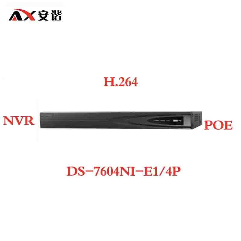 цена ANXIE Hikvision DS-7604NI-E1/4P CCTV System Onvif 4ch NVR 1SATA 4 POE ports HDMI and VGA Embedded Plug & Play NVR POE