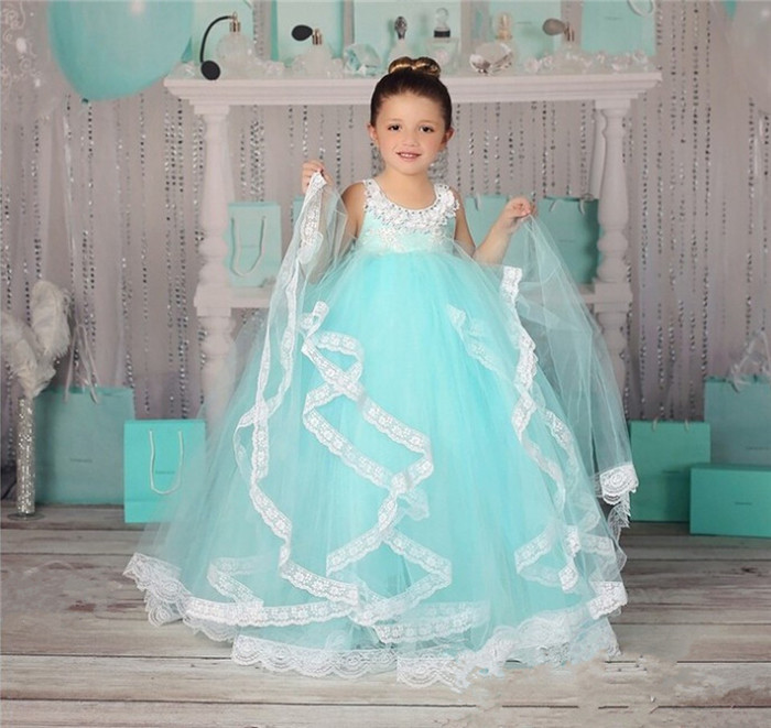 White Lace Puffy Tulle Baby   Girls   Birthday   Dress   O Neck Ankle Length   Flower     Girl     Dresses   for Weddings Ball Gown Custom Color