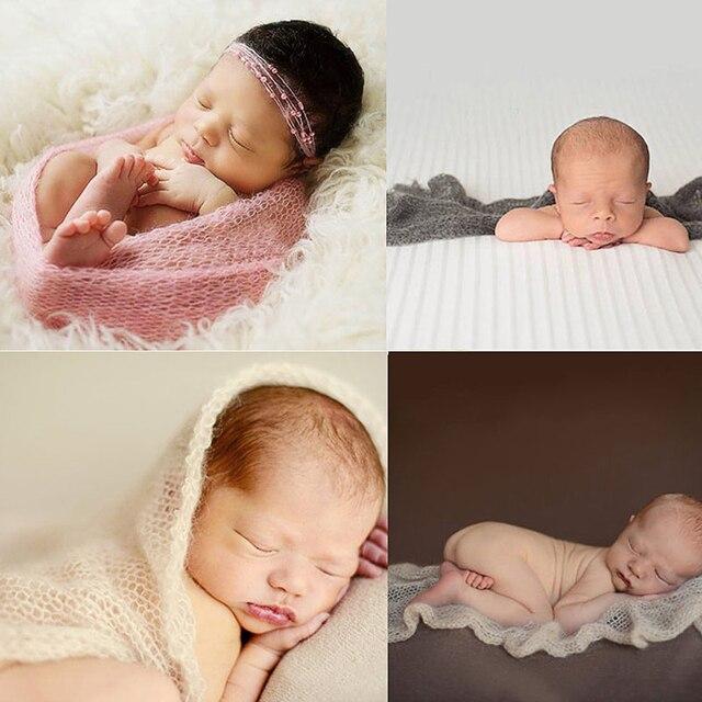 Baby girl posing mohair wraps blankets paddy newborn photography props filler bebe fotos de bebe poses