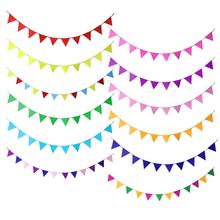 Triangle Decoration Garland Small Bunting Color Non-Woven Fabric Paper String Party Wedding Classroom Stage