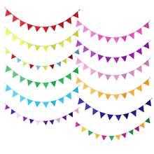 Triangle Decoration Garland Small Bunting Color Non-Woven Fabric Bunting Paper String Party Wedding Classroom Stage Decoration(China)
