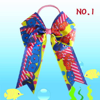 """16 BLESSING chica feliz accesorios para el cabello cola larga (Finding Nemo) 4,5 """"Cheer Leader Bow elástico caja grande-embalado"""