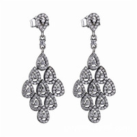 High Quality New Collection Luxurious And Noble CZ Paving 925 Sterling Silver Water Drop Stone Pendant Earring