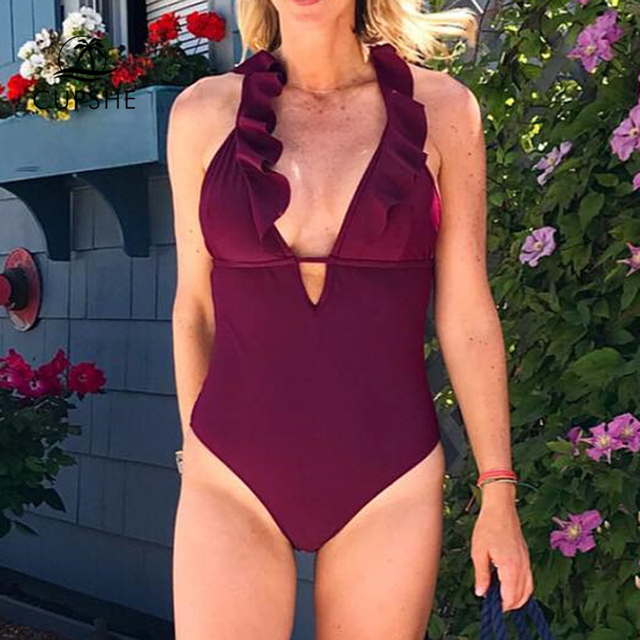 CUPSHE Burgundy Heart Attack Falbala One-piece Swimsuit Women Ruffle V-neck Monokini 2019 New Girls Beach Bathing Suit Swimwear