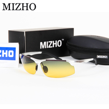 MIZHO High Quality Aluminium Frame Day & Night Use Drivers Car Rectangle Yellow Sunglasses Men Polarized Driving green 2017