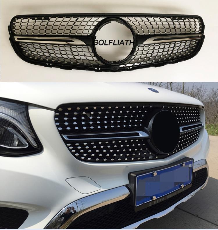 GOLFLIATH Front grille center grill for 2014-2017 Mercedes benz W253 X253 GLC 200 GLC250 GLC300 Sport glC450 diamond grille golfliath front grille center grill for 2014 2017 mercedes benz w253 x253 glc 200 glc250 glc300 sport glc450 diamond grille