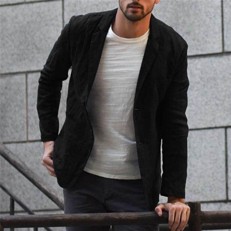 New 2019 Summer Men Slim Fit Linen Blend Casual Blazer Pocket Solid Long Sleeve Suits Blazer Jacket Outwear #E09 (10)