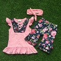 baby girls summer outfits girls short sleeve children floral outfits kids ruffle shorts with matching headband