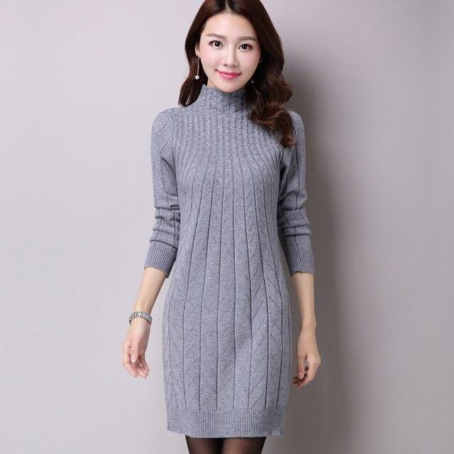 4538e71de2fc9 2018 New Women Sweater Dresses Autumn Winter Female Long Sleeve Knitted  Half Turtleneck Thick Warm Slim Dresses Vestido De Festa