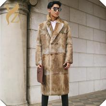 Top Fashion Real Whole Skin Rabbit Fur Coats Long For Men s Full Pelt Rabbit Fur