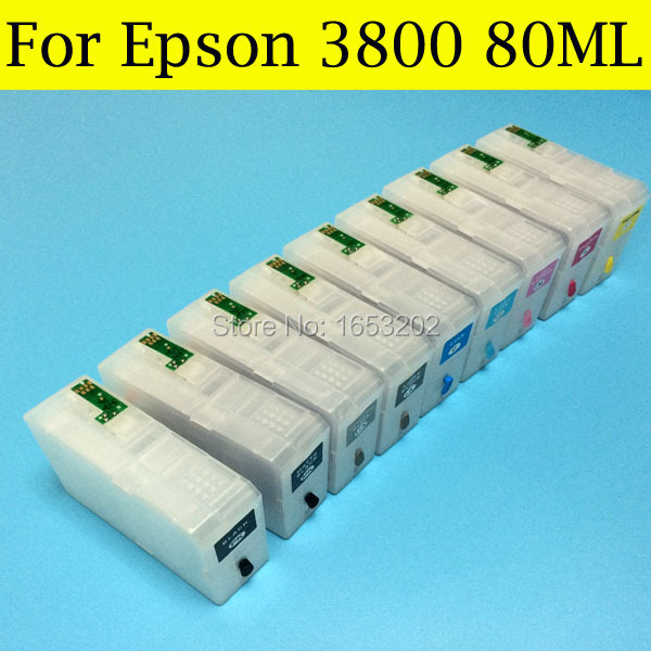 Best Ink Cartridges T5801-T5809 580 Tinta For Epson Stylus Pro 3800 Pro 3800C Printer Pollter With Come With Chip Sensor 1 pc new and original waste maintenance ink tank for epson stylus pro 3800 3880 3890 3800c printer