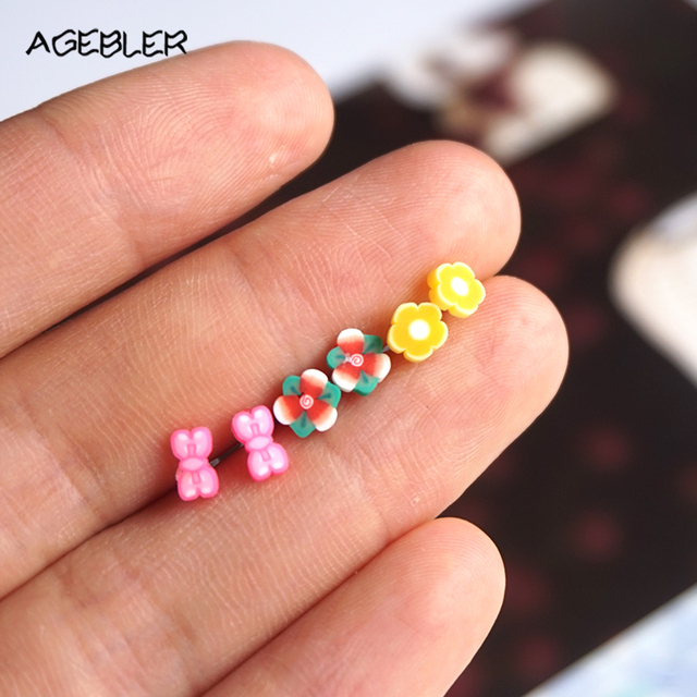 100 Handmade Polymer Clay Stud Earrings For Women Kids Friend Lovely Summer Style Timy Flower