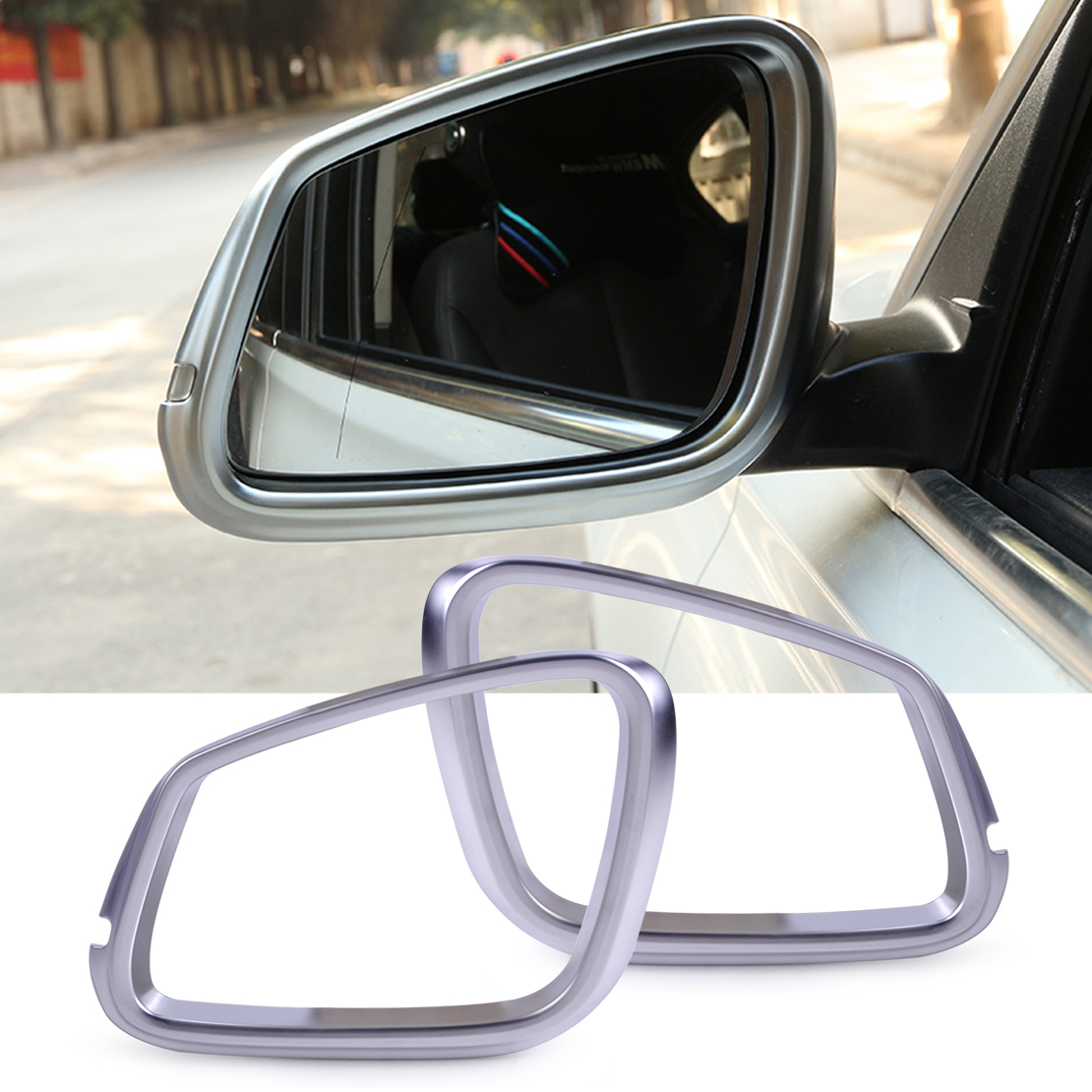 DWCX car styling ABS Matte Chrome Rear View Door Mirror Frame Rearview Cover Trim Rims for