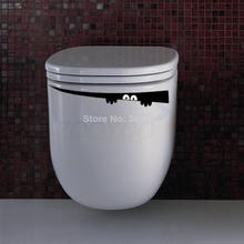 2pcs/lot toilet sticker creative wall decal zooyoo304 decorative home decoration removable vinyl