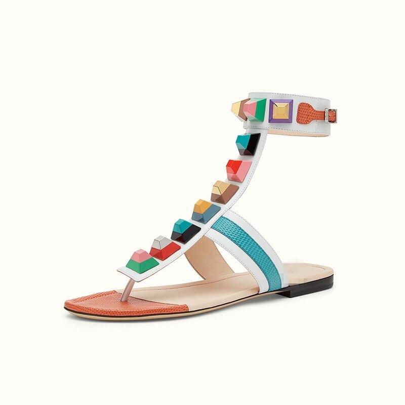 ARQA nouvelle mode femmes appartements sandales chaussures femmes grande taille 34-43 casual été bout ouvert Sexy t-strap boucle Rivets métal