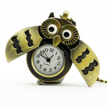 Fashion Owl With Active Wings Design Pocket Watch Chains Necklaces Owl Pendant Necklace Steampunk