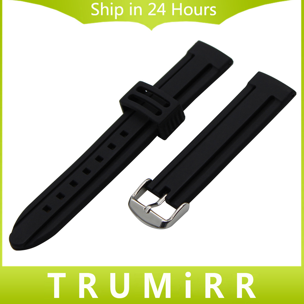 Silicone Rubber Watchband 19mm 20mm 21mm 22mm 23mm 26mm for Seiko Men Women Watch Band Stainless Steel Buckle Wrist Strap Black eache silicone watch band strap replacement watch band can fit for swatch 17mm 19mm men women