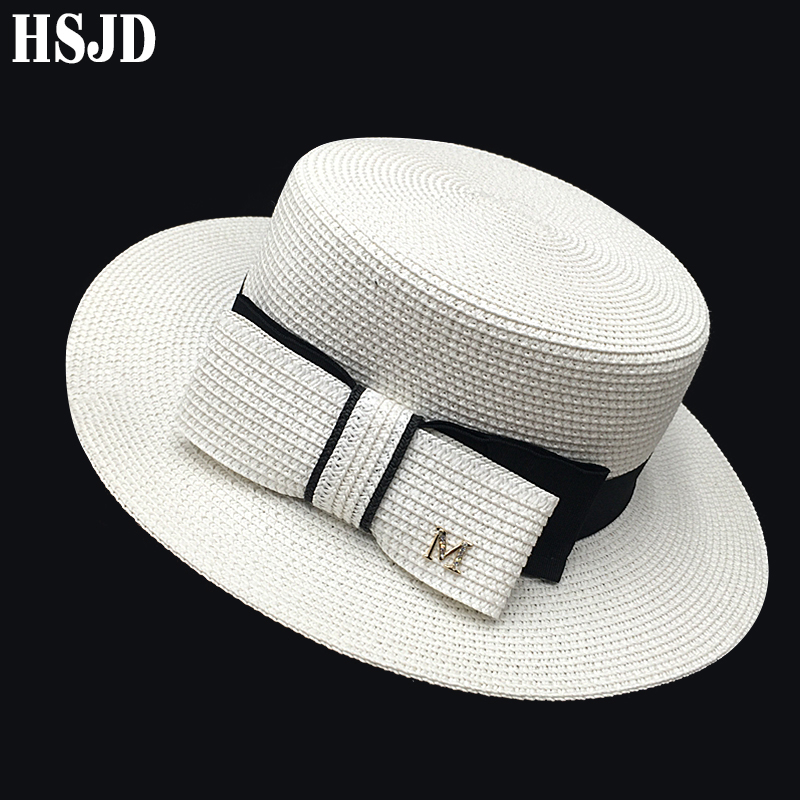 French Straw Flat Top Bow Female Sun Hats M Panama Elegant Wide Brim Anti-UV Beach Hat Women's Summer Sun Cap Gorras