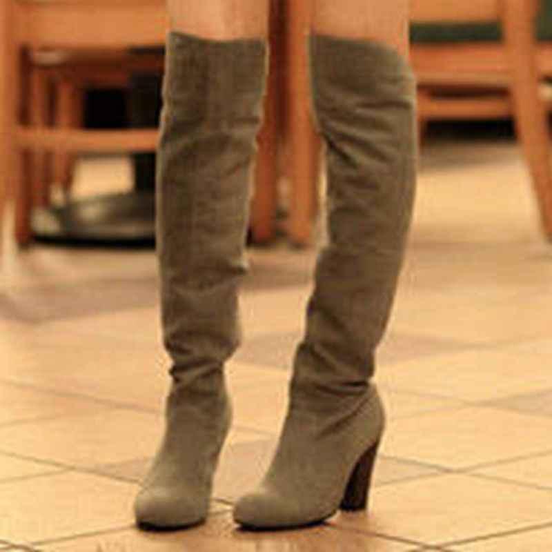 BLXQPYT 2017รองเท้าฤดูใบไม้ร่วงฤดูหนาวขนาดใหญ่34-43กว่าเข่าบู๊ทส์ผู้หญิงเซ็กซี่รองเท้าส้นสูงยาวรอบนิ้วเท้าแพลตฟอร์มอัศวิน818