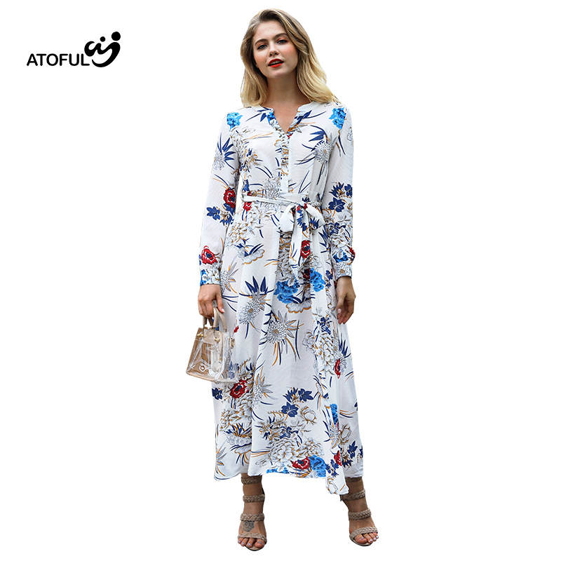 ATOFUL 2018 New Women Autumn Floral Print Dress Boho Style Long Beach Dress Evening Party Long Bandage Bodycon Dress Vestidos