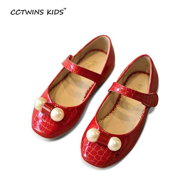 CCTWINS CRIANÇAS primavera outono moda pérola princesa mary jane para a criança plano pu de couro marca menina sapato de dança crianças