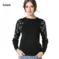 TUHAO Beading Floral Appliques Sweaters Women Tops Rabbit Velvet Soft Fashion Knitted Pullover Outerwar Pull Femme TSW737