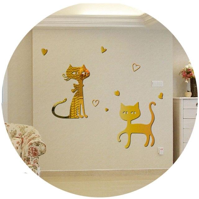 Creatieve Eetkamer Achtergrond Leuke Katten Muurstickers Zilveren ...