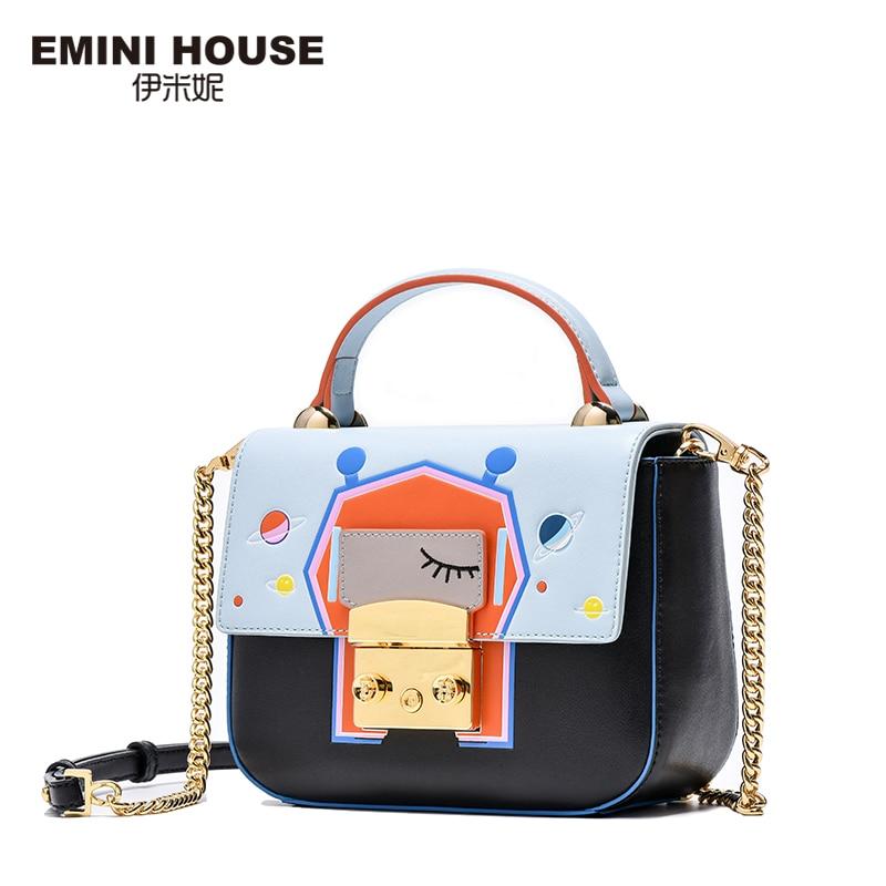 EMINI HOUSE Space Series Handbag Split Leather Crossbody Bag For Women Fashion Flap Bag Shoulder Bags Women Messenger Bags