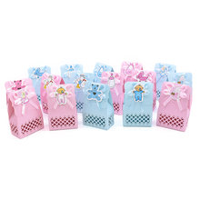 12Pcs Cute Boy And Girl Paper Baptism Baby Shower Candy Box Decoration Kid Favors Gift Sweet Birthday Bag Event Party Supplies(China)