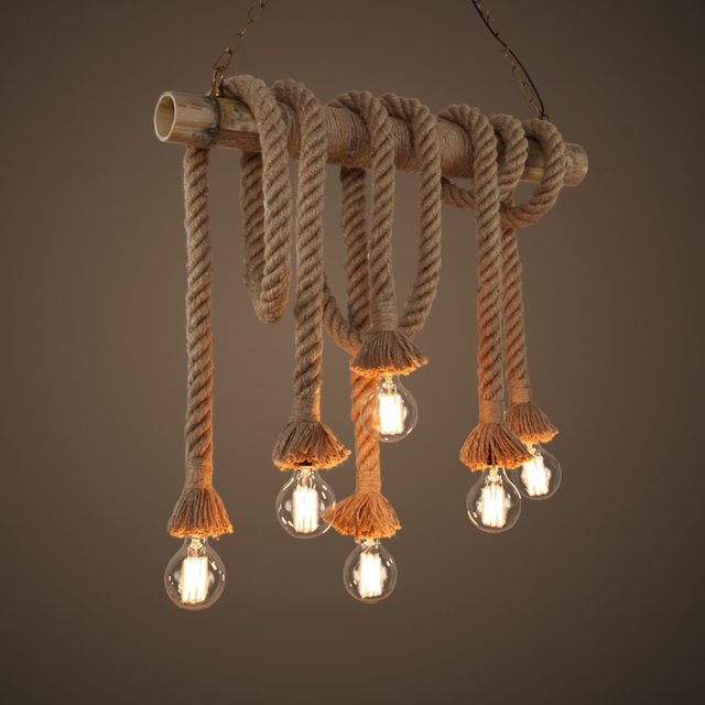 Vintage handmade manila hemp rope with bamboo pendant lamps retro vintage handmade manila hemp rope with bamboo pendant lamps retro industrial edison cafe bar pendant lighting mozeypictures Gallery