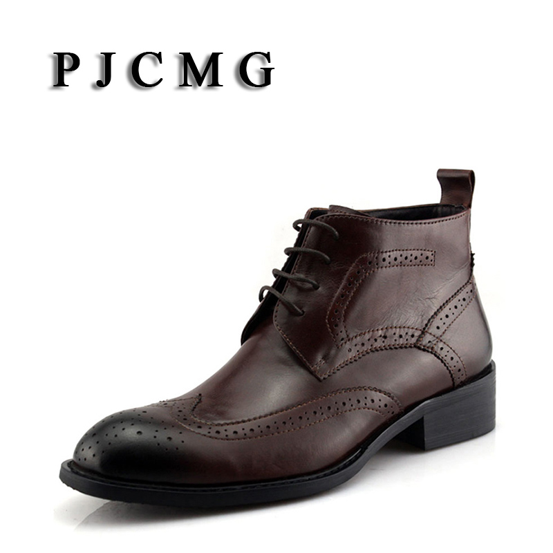 PJCMG Brand Fashion New Autumn Winter Genuine Leather Men s Short Boots Carved Bullock Wedding Casual