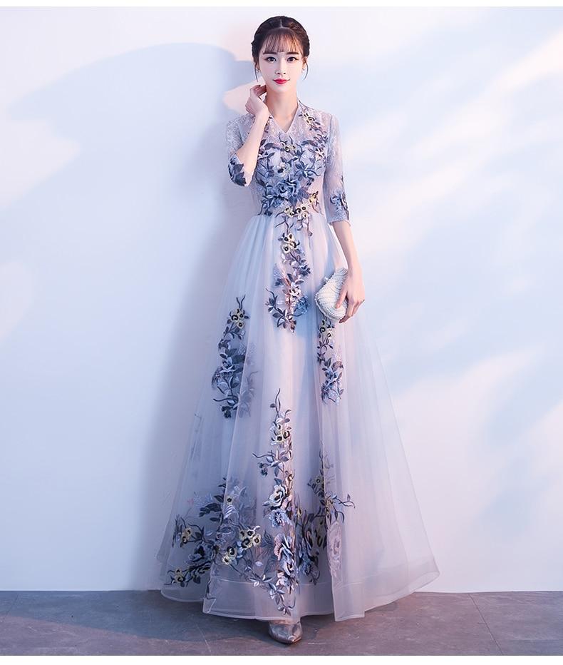 คอยาวชุดจัดเลี้ยงชุดฤดูใบไม้ผลิผู้หญิงครึ่งแขนพรหม Gowns Noble V 5
