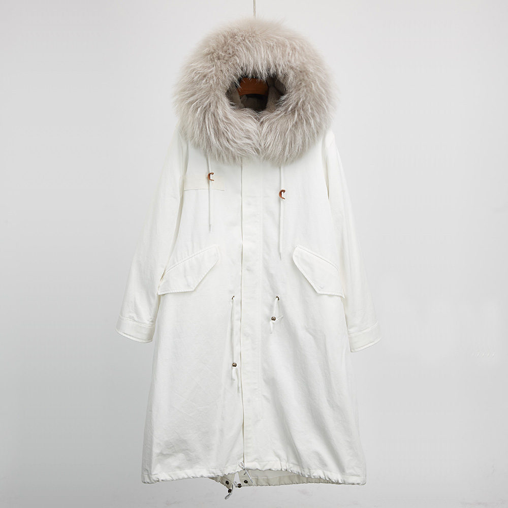 Long real raccoon fur collar parka hooded female fur jacket detachable natural rex rabbit fur liner coats for women winter warm red stripe fur inside male coats winter wear keen warm elegant real raccoon fur collar cashmere fur parka