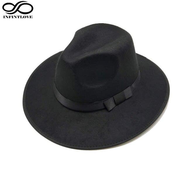 bca75a01a9d placeholder LUCKYLIANJI Women Men Jazz Hard Felt Bowknot Fedora Panama  Bowler Wide Brim Hat Gangster Cap (