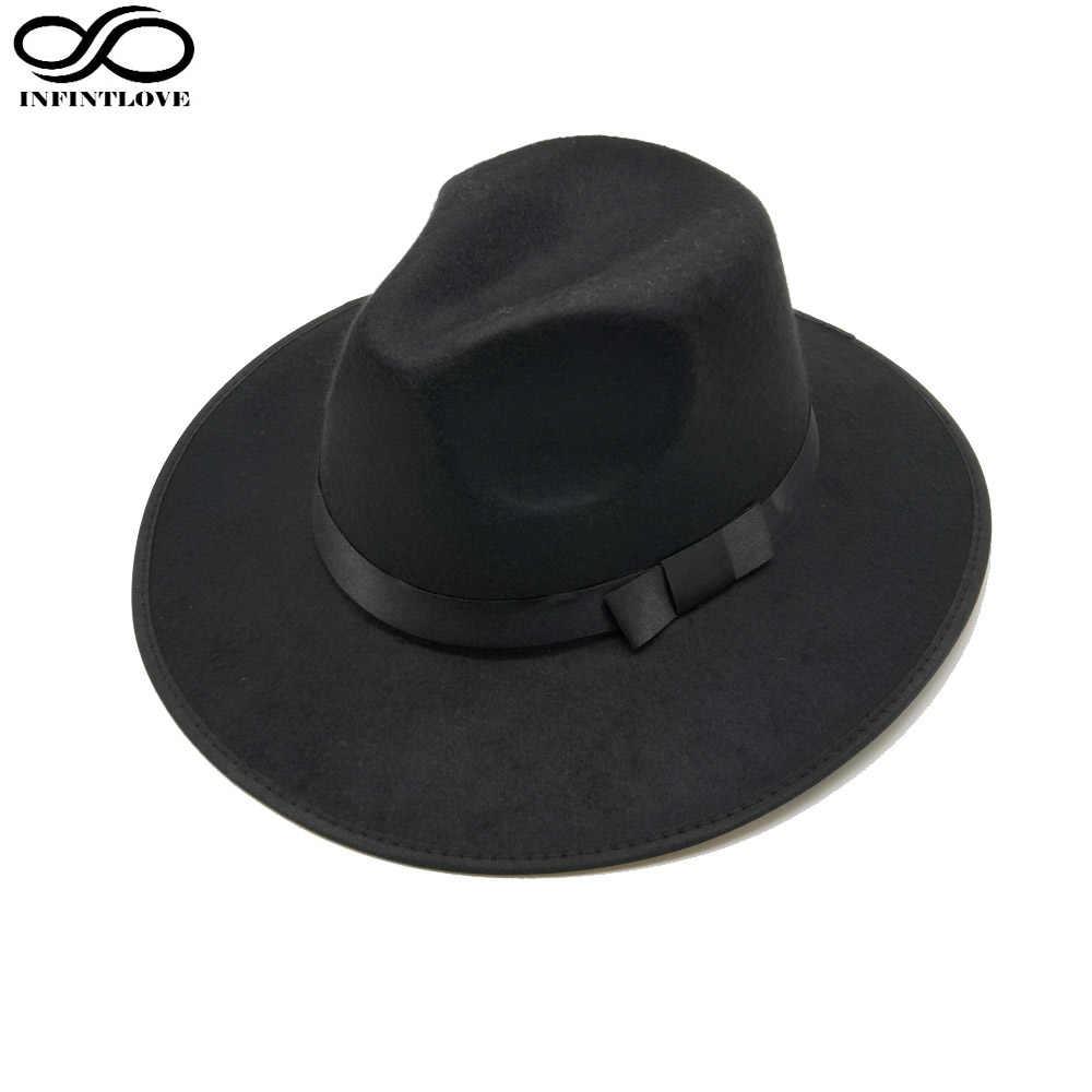8647fee58f6 ... LUCKYLIANJI Women Men Jazz Hard Felt Bowknot Fedora Panama Bowler Wide  Brim Hat Gangster Cap ...