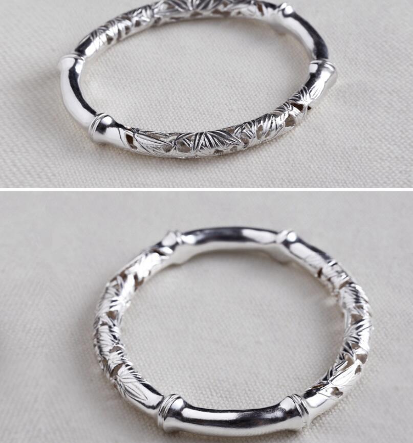 Pur argent 990 argent sculpture bambou argent bijoux femme bracelet (SYF)
