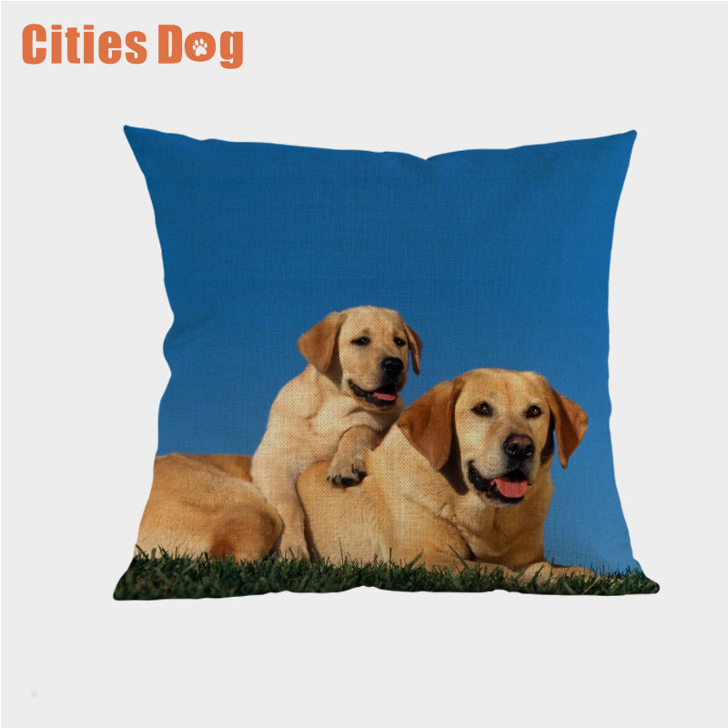 Animal Dog Cushion Cover Throw Pillow Cove Labrador Retriever Dogs Cushions Christmas Gift Pet Home Decorative Pillowcase Decor