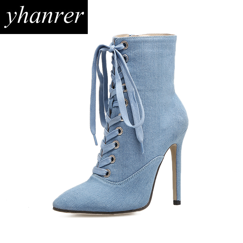 New Women's Sexy Denim Boots Fashion Pointed Toe Thin Heels Pumps Female Lace-up High Heels Winter Ankle Boots Shoes Y166 summer new large size denim shorts female high waist jeans thin 2017 new fashion women slim belly short pant
