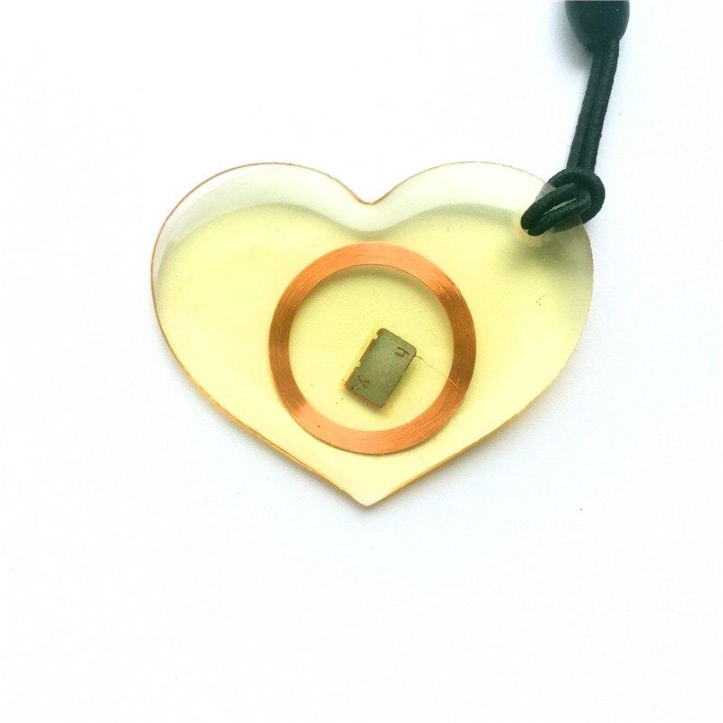 1pcs 125Khz EM4100 RFID Keychains Proximity ID Card Tags Keyfobs Only Read Transparent Heart Card