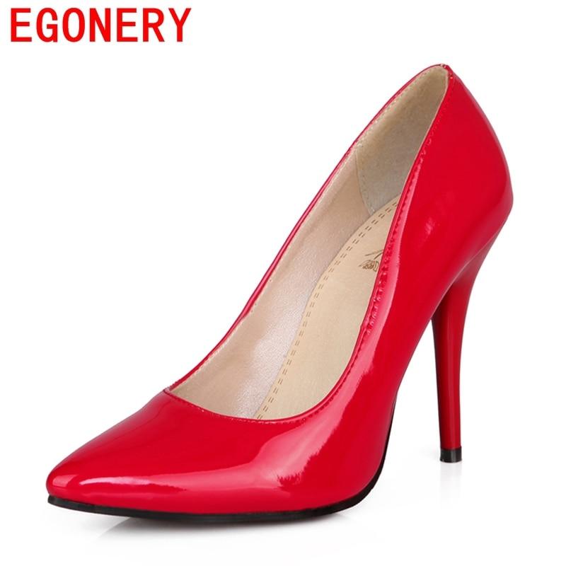 EGONERY shoes 2017 spring summer womens shoes patent leather high heels platform nude pumps fashion black